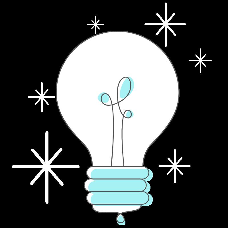 joy of power apps logo: lightbulb with small white starbursts